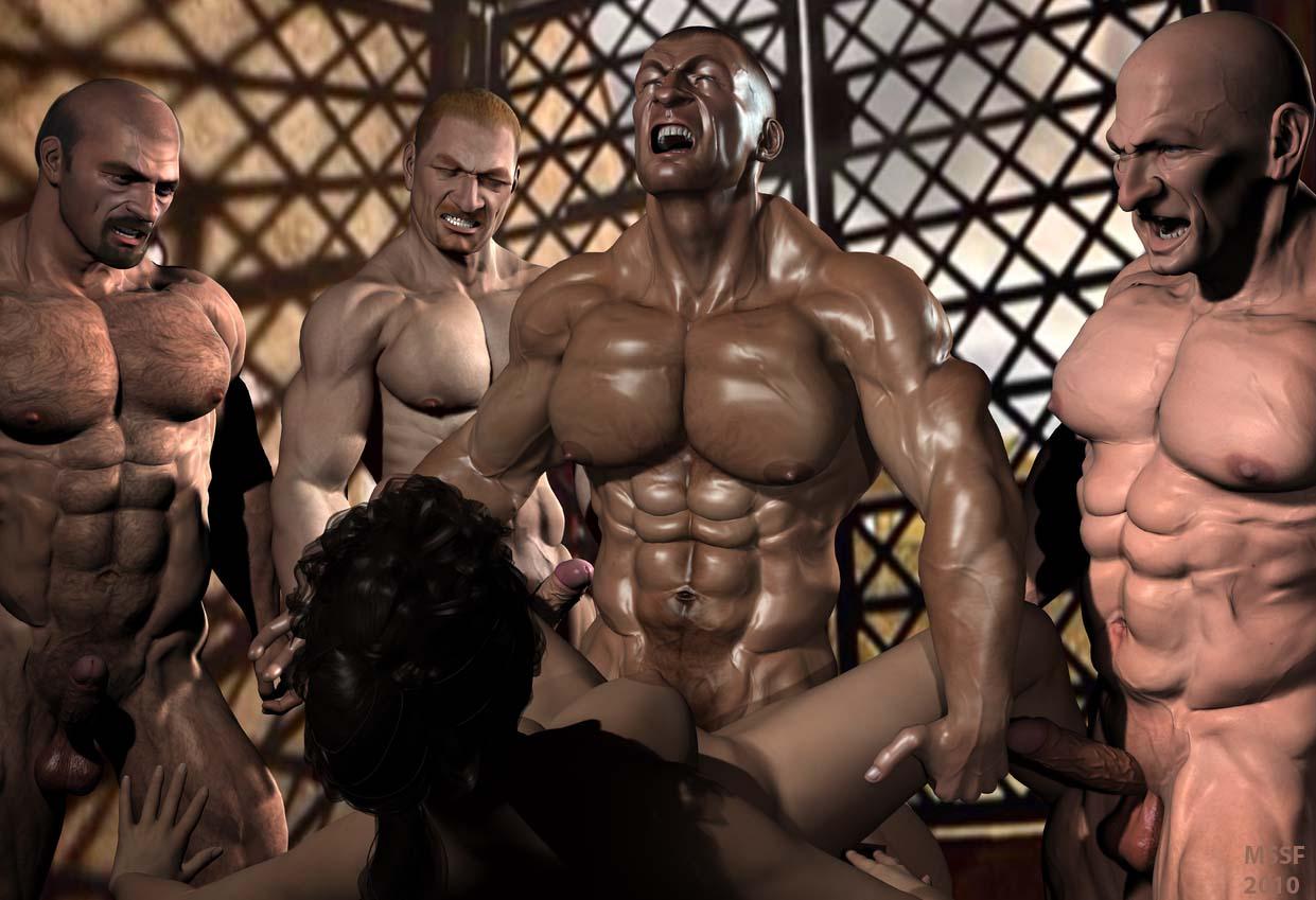 Bodybuilder Gangbang