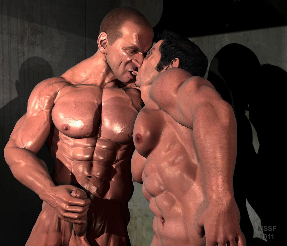 gay muscle kiss