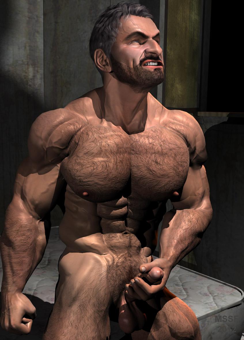 Hairy Bodybuilder Shower Spycam